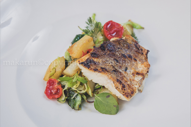 FISH FILLET ON GRILL WITH WITH MEDITERRANEAN VEGETABLES